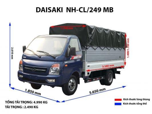 Kích thước tham khảo xe tải 2 tấn