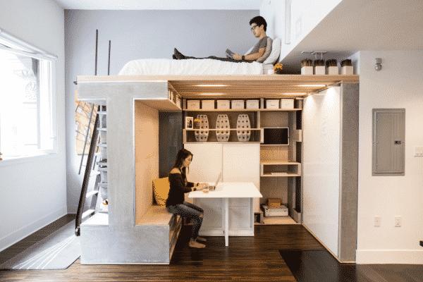 mẫu trang trí phòng trọ với thiết kế đơn giản