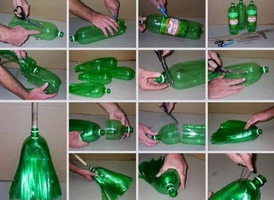 Tái chế vỏ chai nhựa làm thành chổi quét nhà